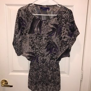 Grey purple floral Miley Cyrus blouse
